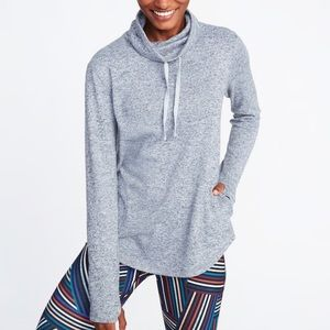 Funnel-Neck Sweater-Knit Performance Pullover